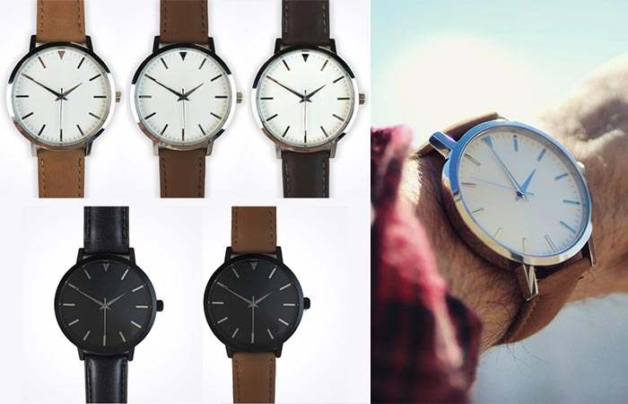Different colors of the Sleek Supply Watches and a man wearing one