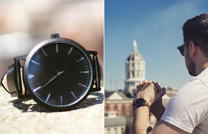 Two different views of a Sleek Supply Watch