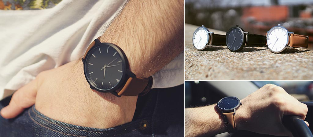 Three different views of the Sleek Supply Classic Watches