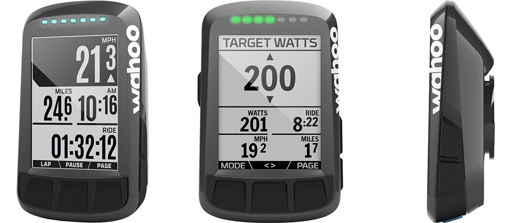 Three different views of the Wahoo Fitness ELEMNT BOLT Computer