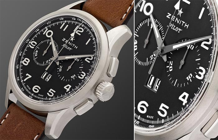 Close up dial view of the Zenith Pilot Stainless Steel And Leather Watch