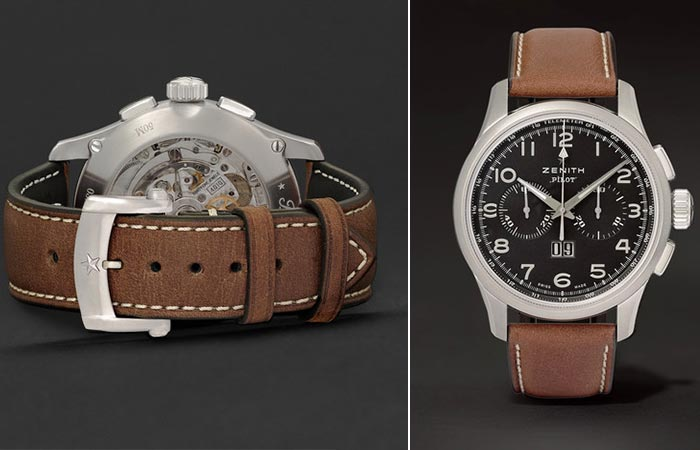 Back and front view of the Zenith Pilot Stainless Steel And Leather Watch
