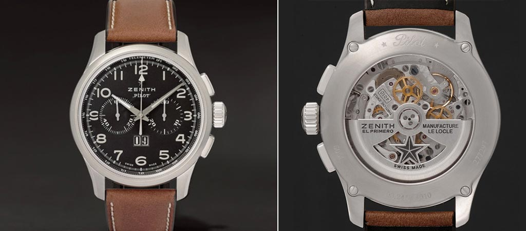 Front and back view of the Zenith Pilot Stainless Steel And Leather Watch
