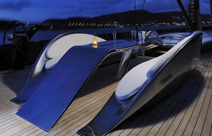 Table and chairs of the Angel's Share Luxury Superyacht