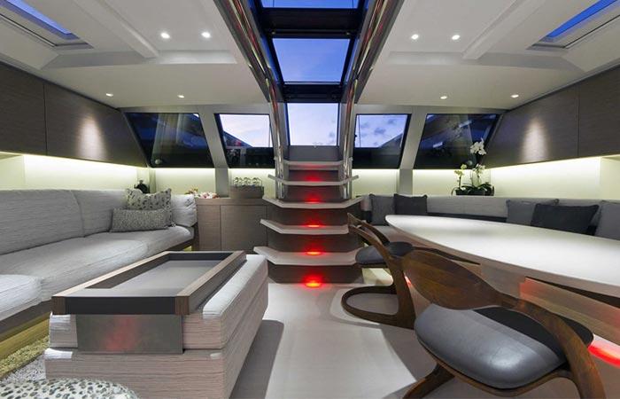 Main hall of the Angel's Share Luxury Superyacht