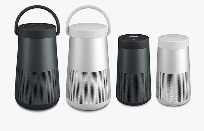 Bose SoundLink Revolve and Bose SoundLink Revolve + in black and white
