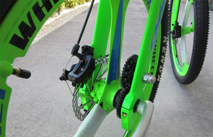 a detail on Chainless bike