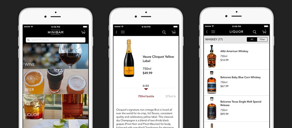 Three different views of the Minibar Delivery app