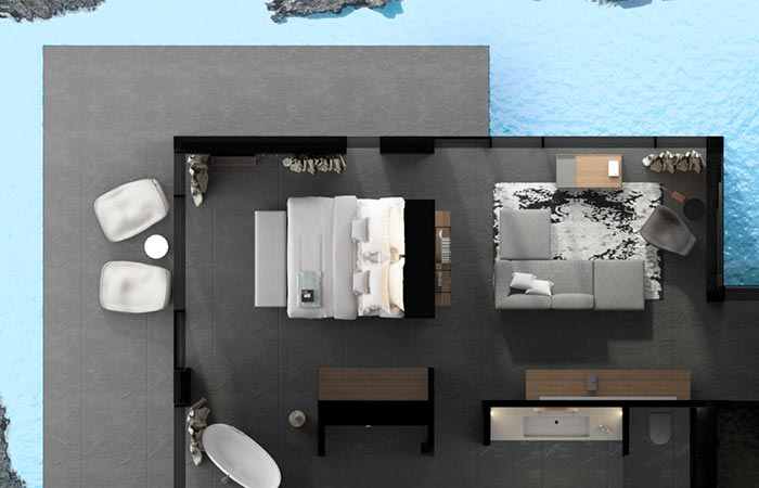 a view on Moss Hotel room plan