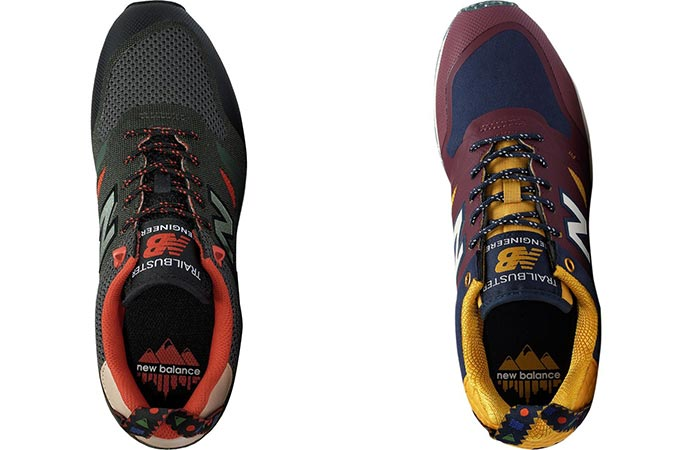 Top view of the New Balance Trailbuster in two different colors
