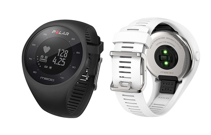 black and white Polar M200 GPS watch