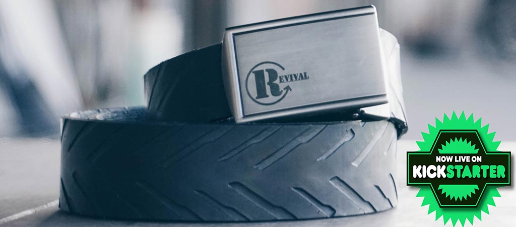 Revival Tire Belt with Kickstarter logo