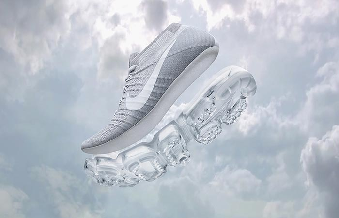 Product shot of The All-New Nike VaporMax with clouds
