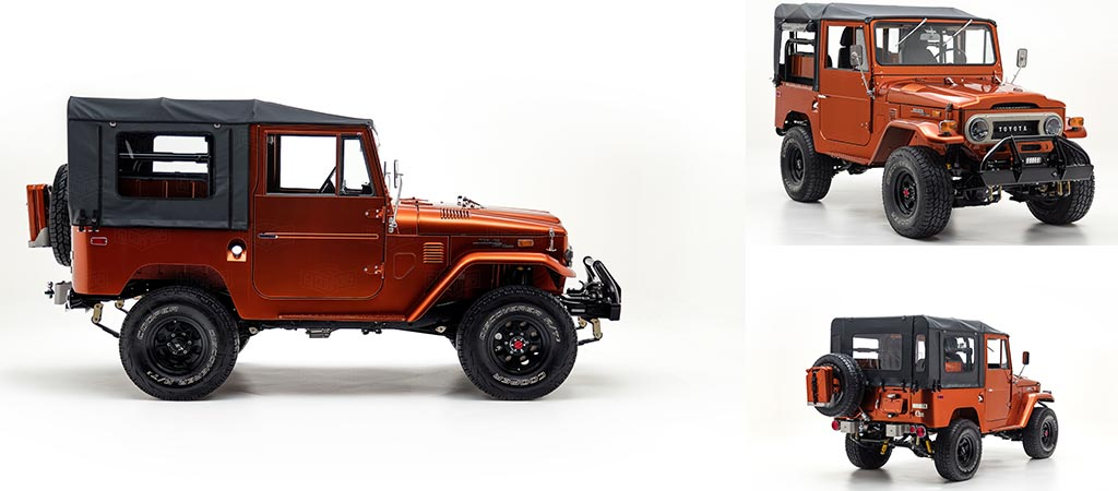 Three different views of the Toyota Land Cruiser FJ40