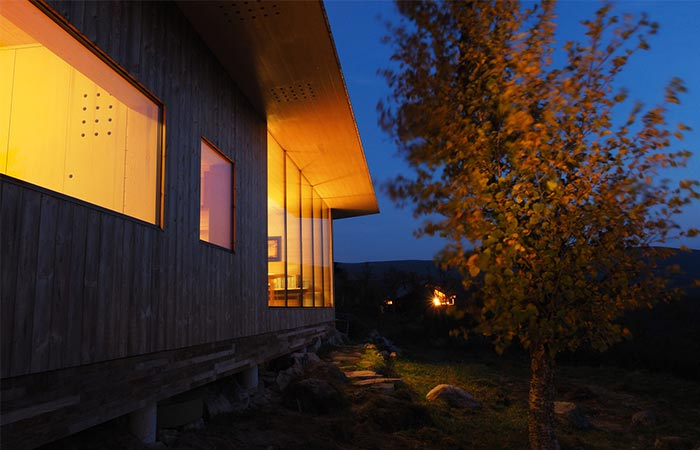 a cabin by night