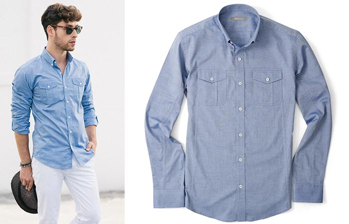 two images of The Editor Utility Shirt