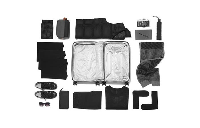 travel items next to a Raden luggage