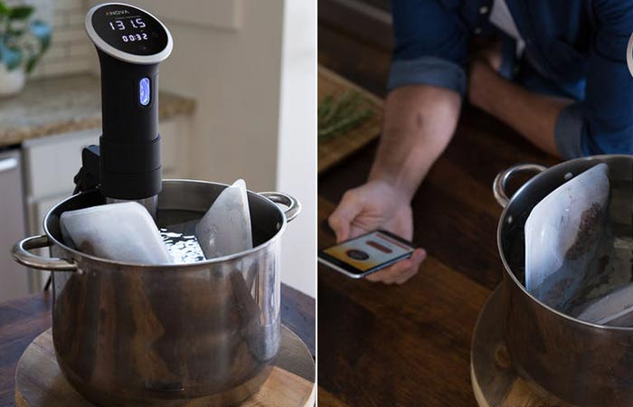 two images of Anova Wifi precision cooker being used