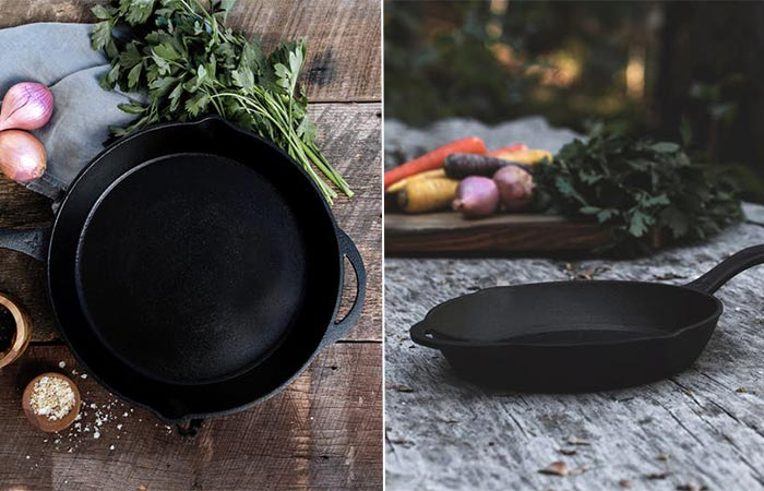 two images of Barebones Kitchen Cast Iron Skillet