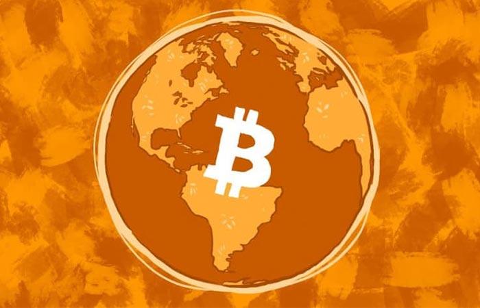 bitcoin in a globe