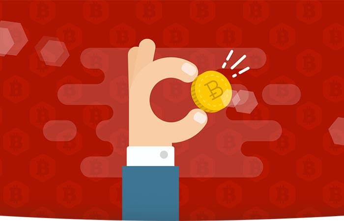 animated hand holding a bitcoin