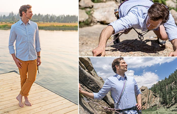 three images of wearing Bluffworks Meridian Dress Shirt