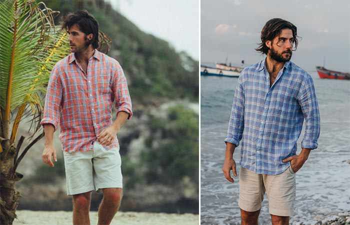 two images of Faherty Brand LS Ventura Linen Shirt