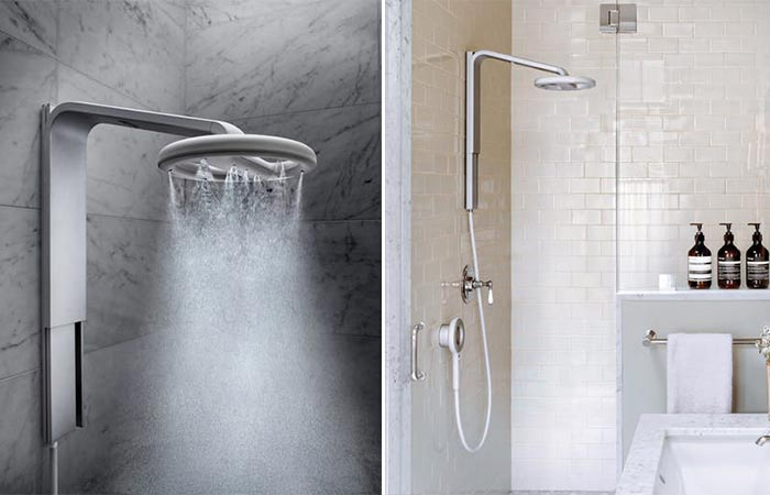two images of Nebia Steam Shower