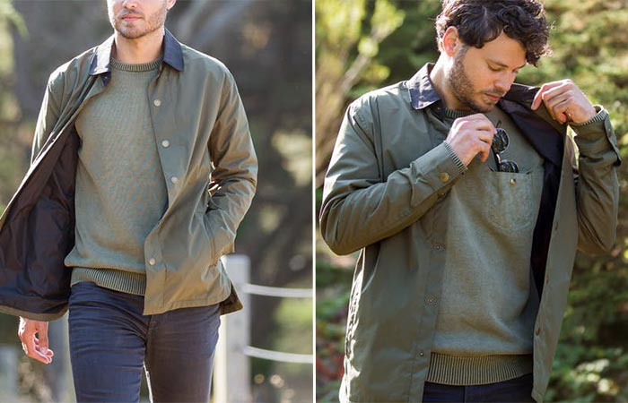 two images of a guy wearing Roark Revival Officer Jacket