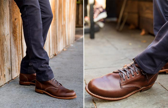 two images of brown Wolverine 1000 Mile Boot