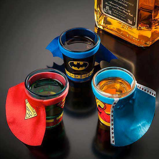Jack Daniels batman superman themed cups