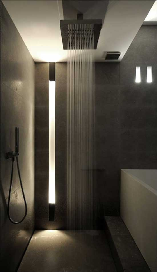 Rain Shower grey bathroom