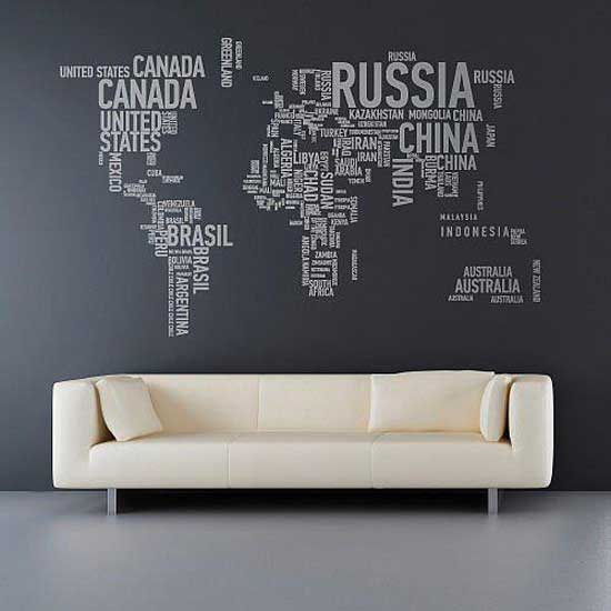 Typography world map home design
