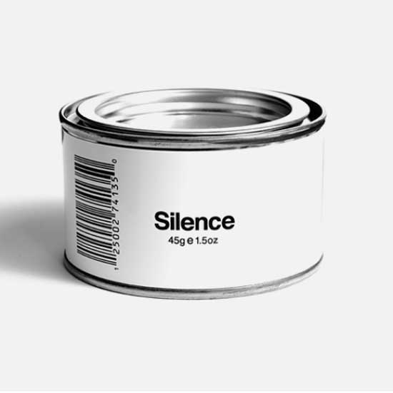 White can with 45 g silence