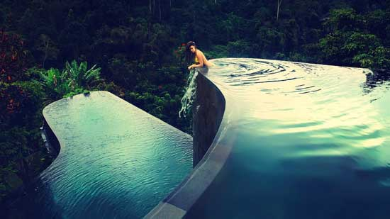 infinity pool in forest