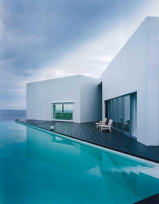 minimal white home pool