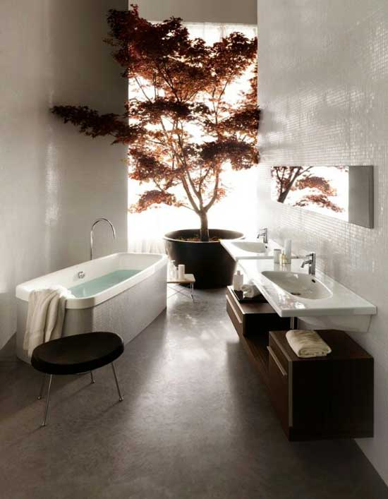 tree in bathroom