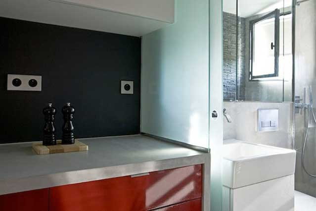 Micro Apartment in Paris kitchen table and bathroom