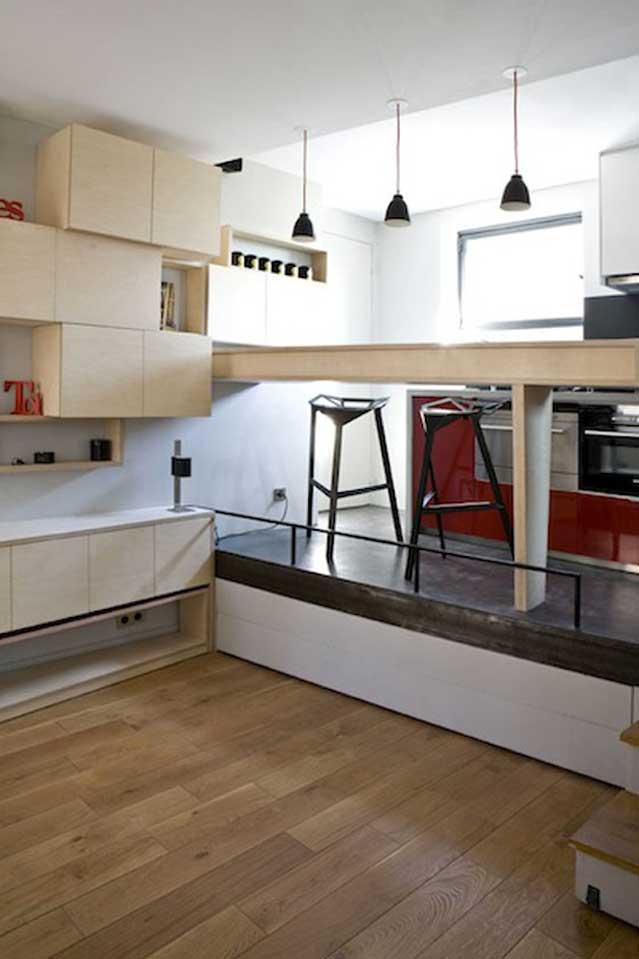 Micro Apartment in Paris living room