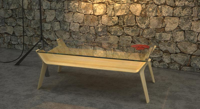 table in a room with stone walls
