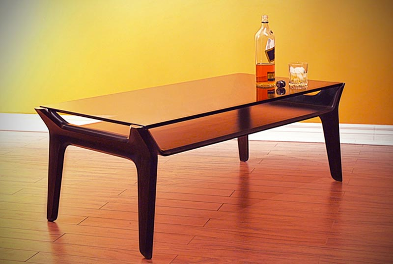 Delgado table in a room with a bottle of whiskey on top