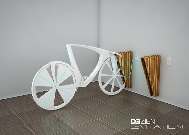 White Levitation concept bike plugged to awall socket
