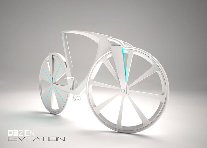 White Levitation concept bike front side view
