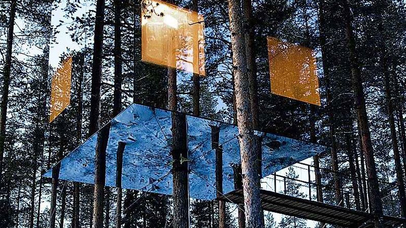 Exterior view of the Mirrorcube Treehotel in Sweden