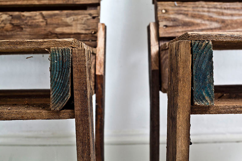 closeup view of 2 pallet chairs
