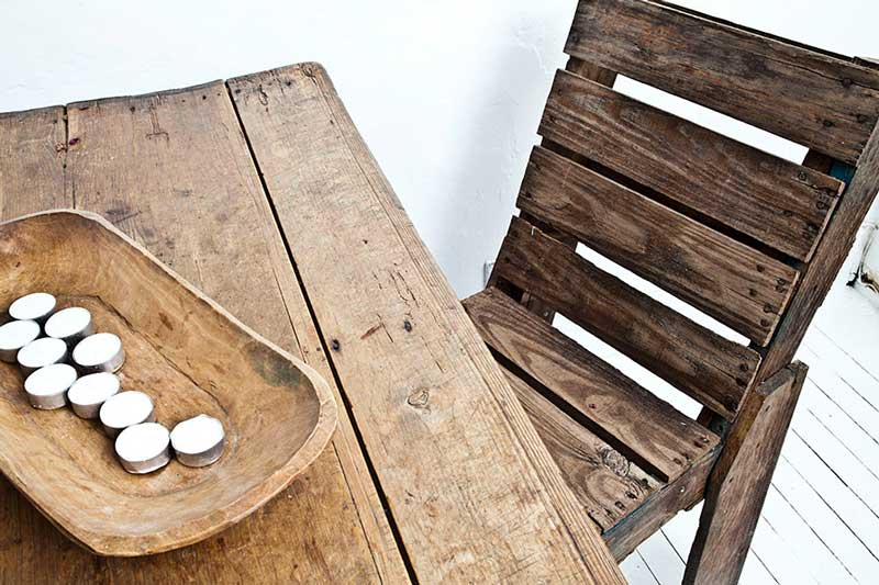 pallet chair and a table