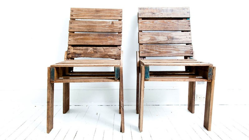 2 pallet chairs side by side