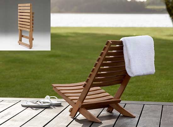 Skagerak Teak Dania Beach Chair on a patio
