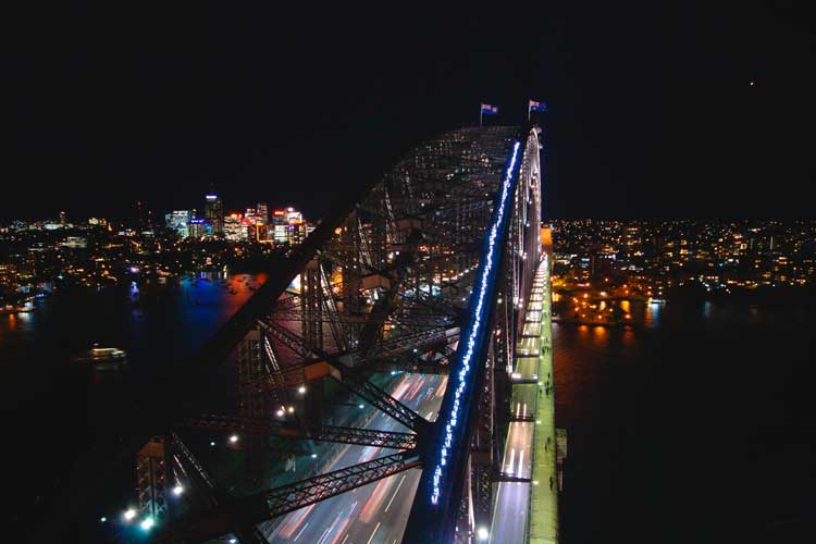 Aerial view of the Light Up bridge in Sydney