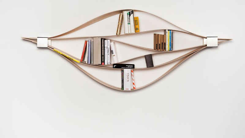 Chuck bookshelf with books within each layer